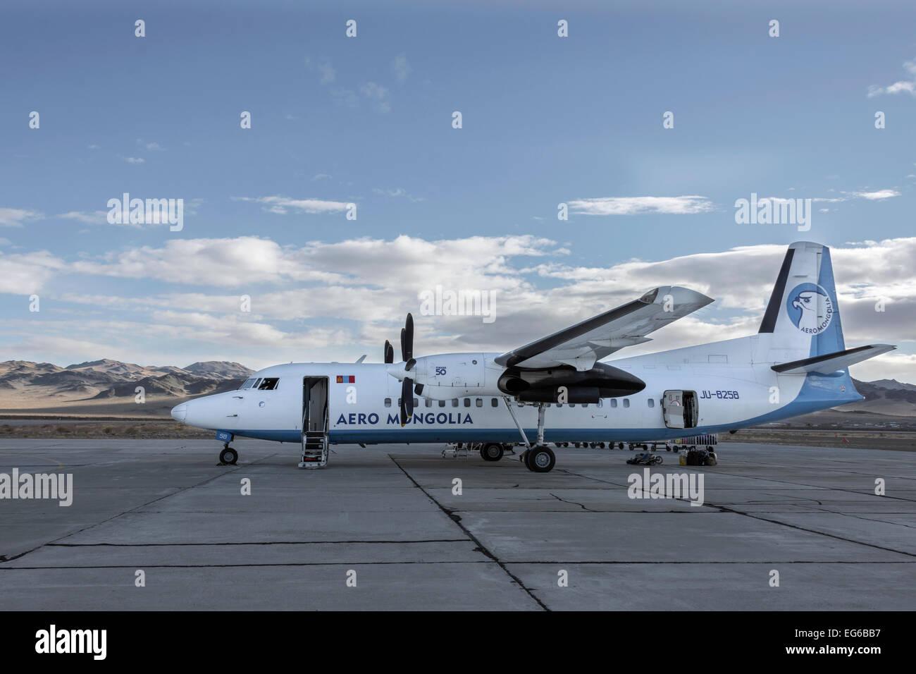 Aero Mongolia prop plane at Olgii Airport, Western Mongolia Stock Photo