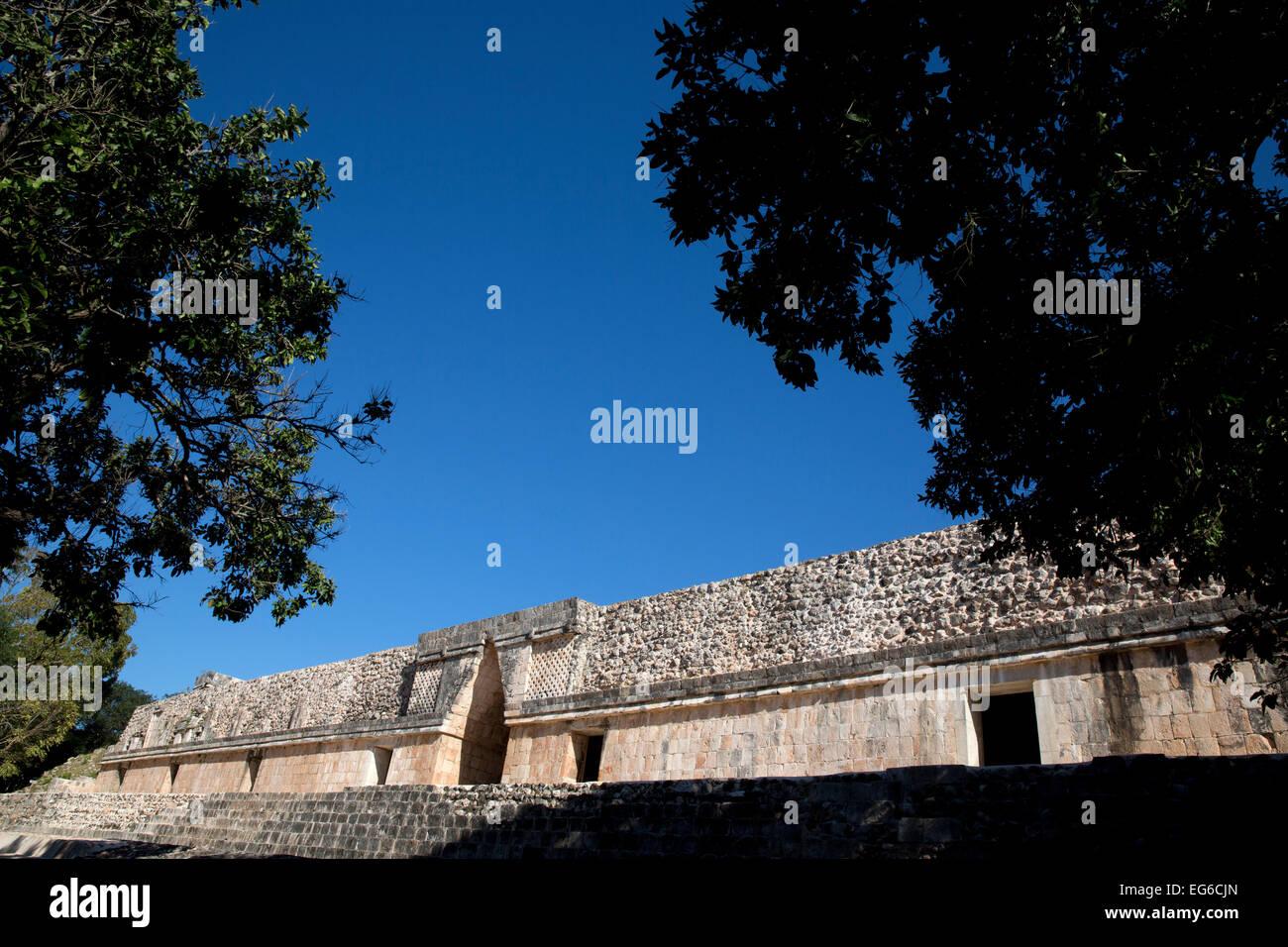 Ornate facade, Nunnery quadrangle, Uxmal, Yucatan, Mexico Stock Photo