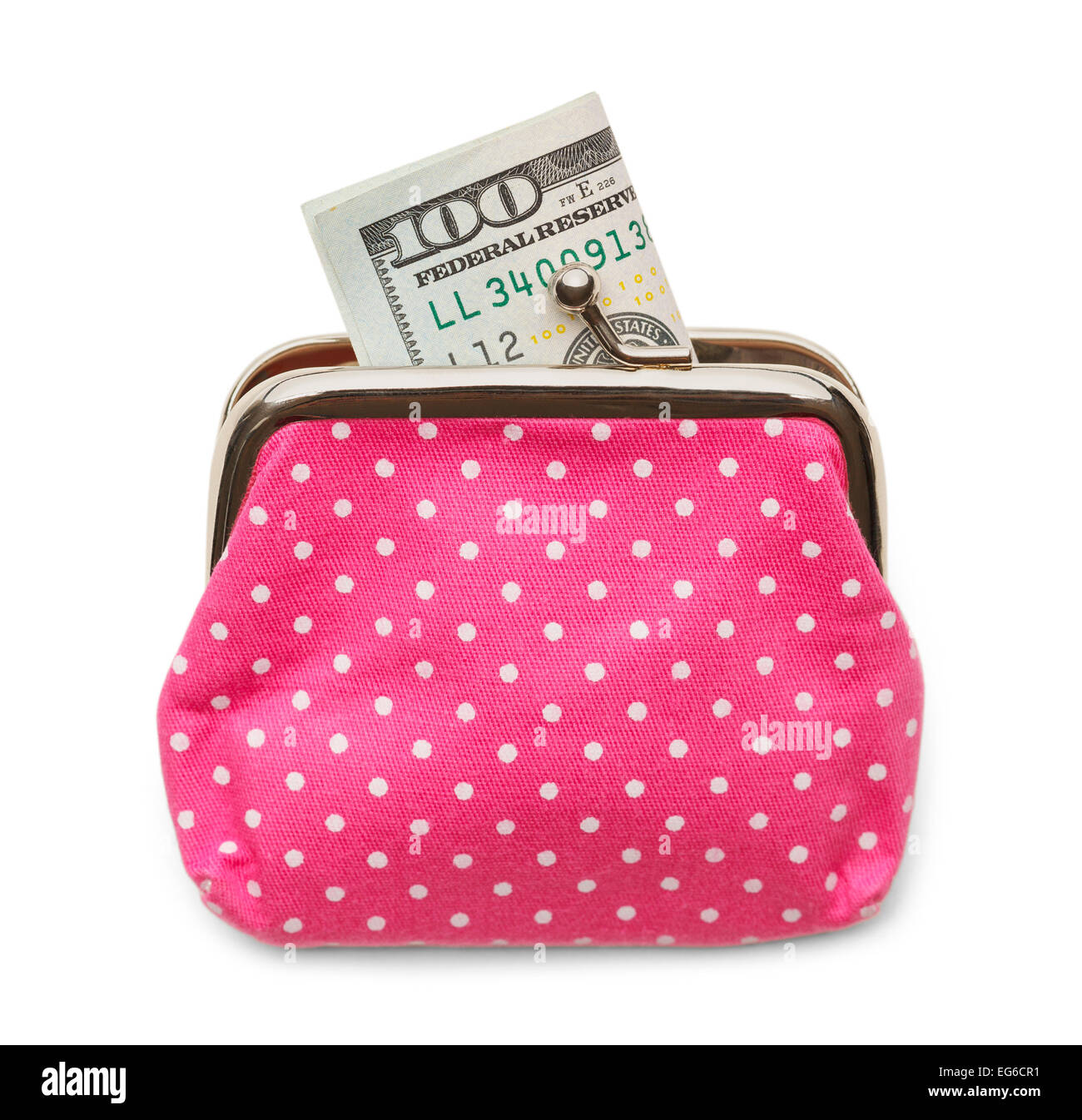 Pink Change Purse with a Hundred Dollar Bill Isolated on White Background. - Stock Image