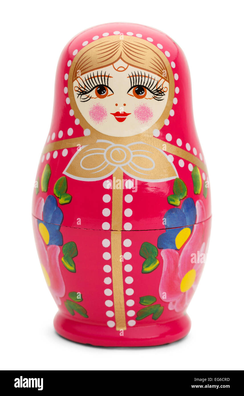 Traditional Russian Wood Doll Isolated on White Background. - Stock Image