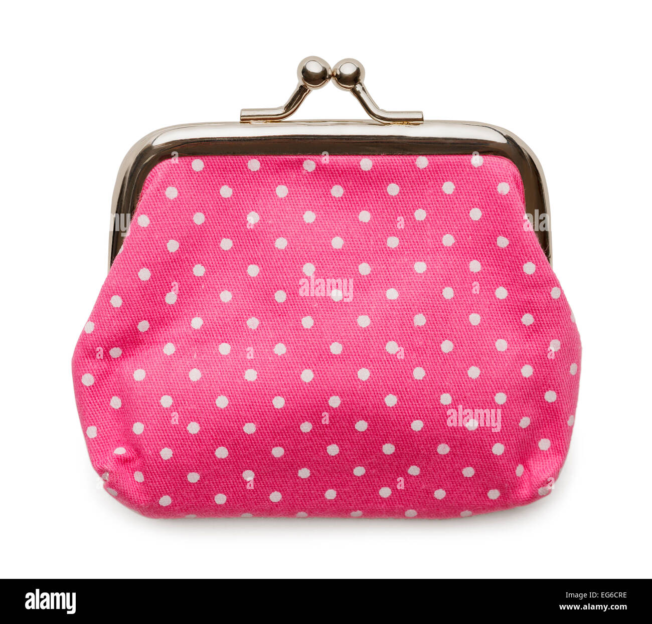 Closed Pink Change Purse Isolated on White Background. - Stock Image
