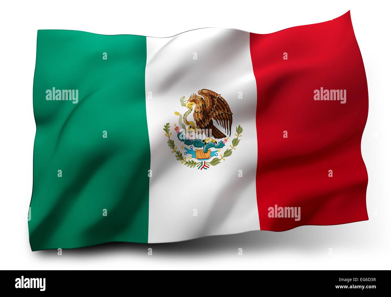 Waving flag of Mexico isolated on white background - Stock Image