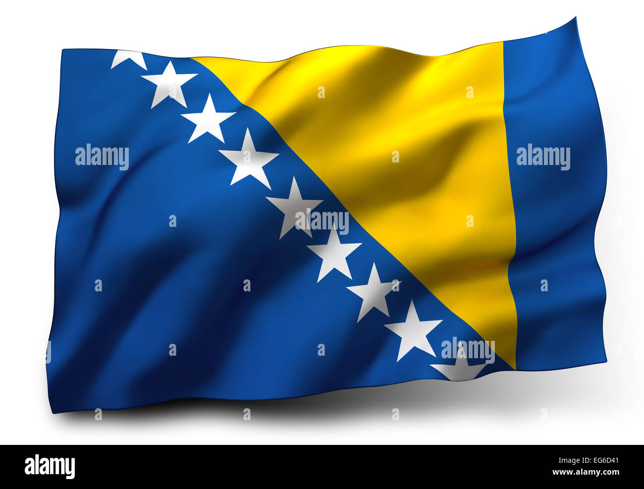 Waving flag of Bosnia and Herzegovina isolated on white background - Stock Image