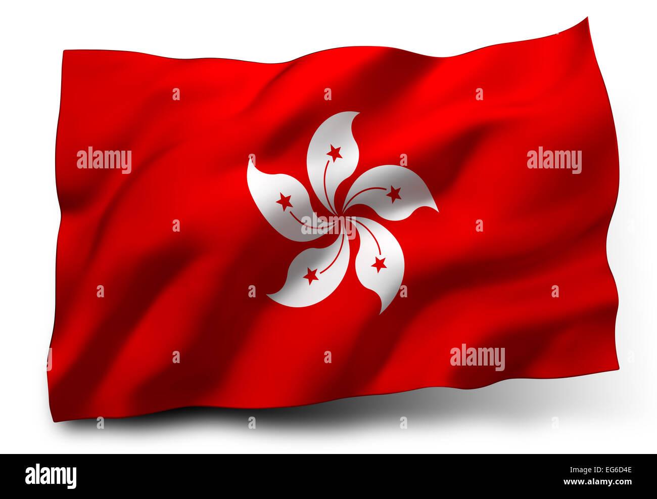 Waving flag of Honk Kong isolated on white background - Stock Image