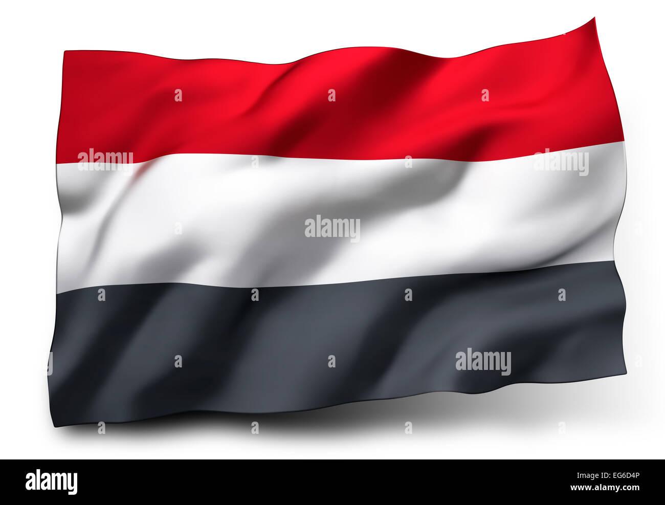 Waving flag of Yemen isolated on white background - Stock Image