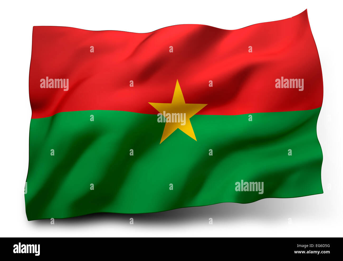 Waving flag of Burkina Faso isolated on white background - Stock Image