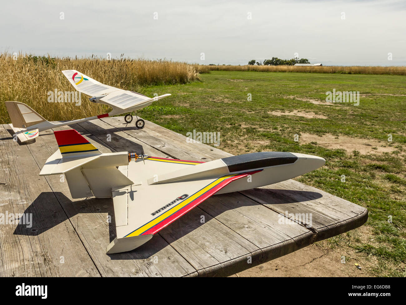 Radio Control (RC) model aeroplanes on field table. - Stock Image