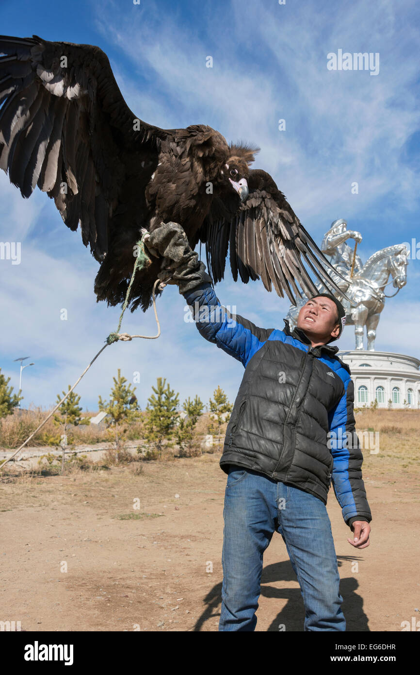 Handler with trained Cinereous vulture, Genghis Khan monument, Tuul River, Tsonjin Boldog, Mongolia Stock Photo