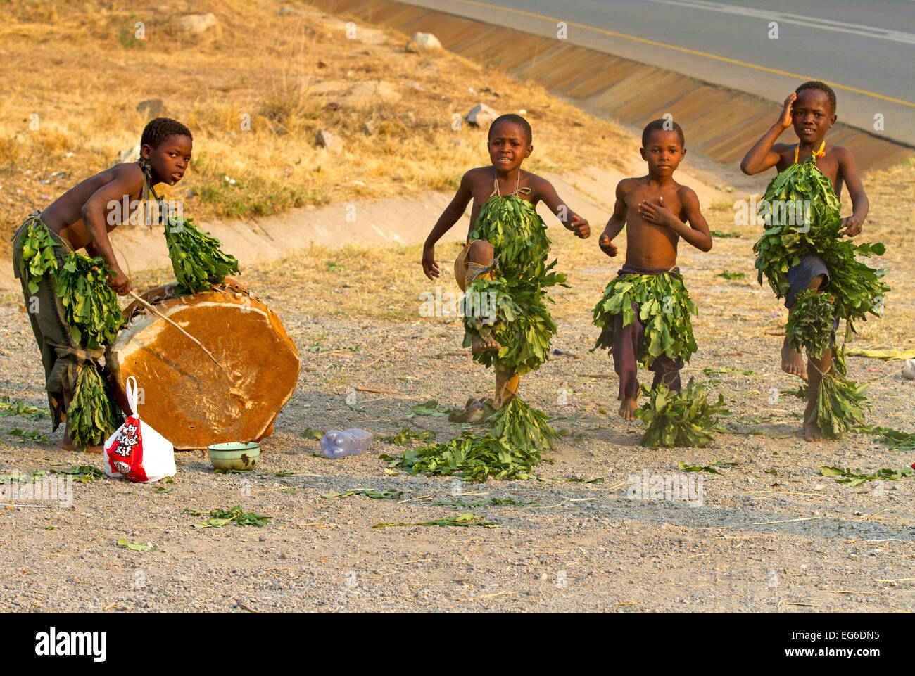 Boys busking by the roadside in Swaziland - Stock Image