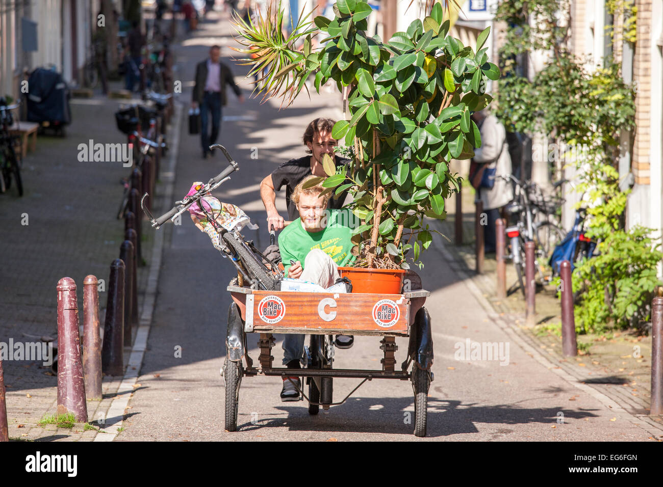Cargo bike Amsterdam students moving house with a rented MacBike cargo bicycle, carrier cycle, freight tricycle. - Stock Image