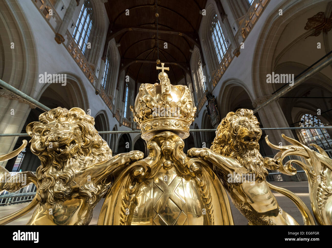 Amsterdam Nieuwe Kerk; New Church interior. Brass top ornament of the Choir Screen (ca 1650) by Johannes Lutma close - Stock Image