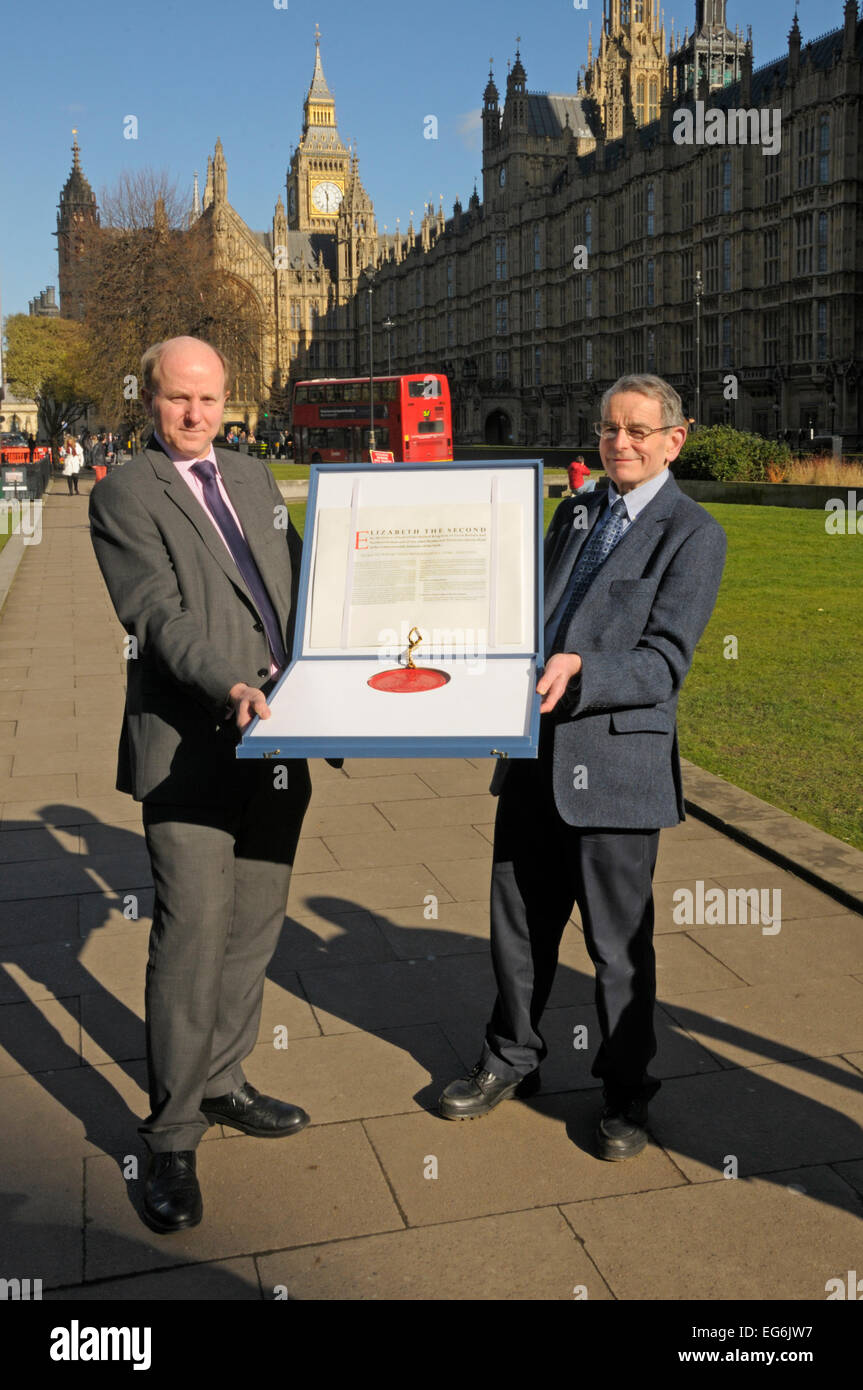 London, UK. 17th Feb, 2015. New Royal Charter for the Royal College of Veterinary Surgeons collected from the House - Stock Image