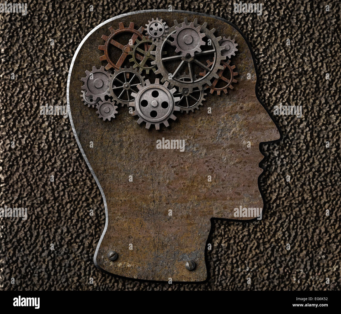 Metal brain gears and cogs. Mental illness, psychology, invention and idea concept. - Stock Image