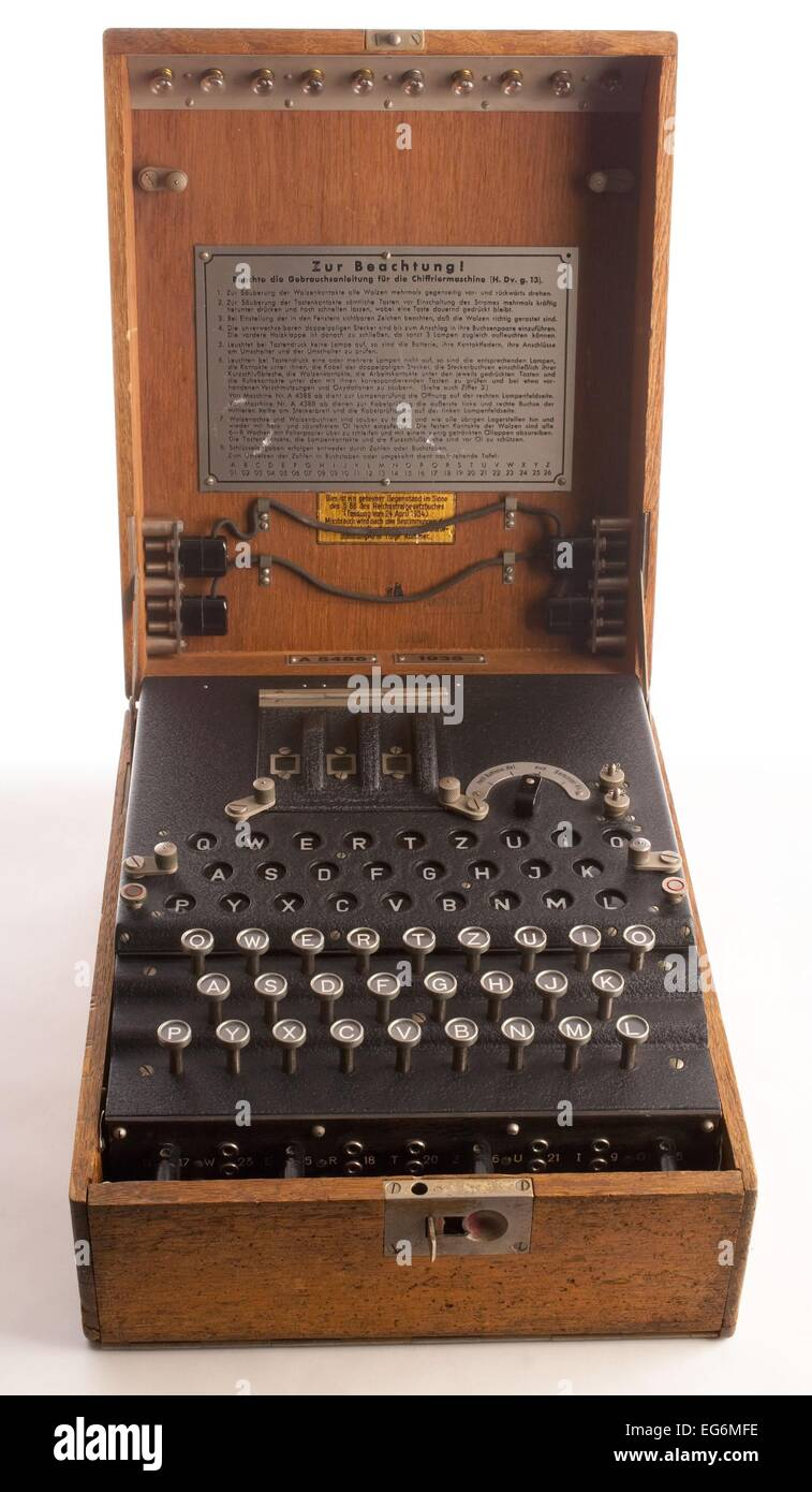 Enigma, the German cipher machine created codes for sending messages during World War 2. Using early computers, Stock Photo