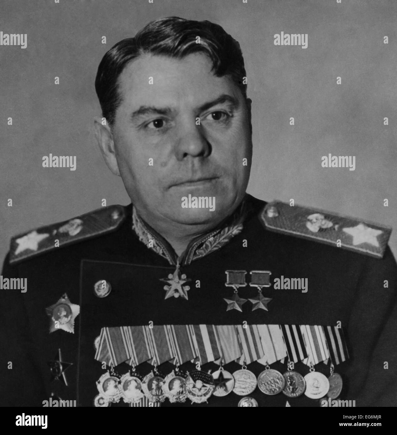 Soviet General Alexander M. Vasilevsky, Deputy Minister of Armed Forces of USSR. During World War 2 he coordinated - Stock Image