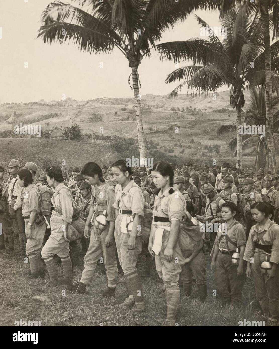 japanese nurses and soldiers surrendering to americans on
