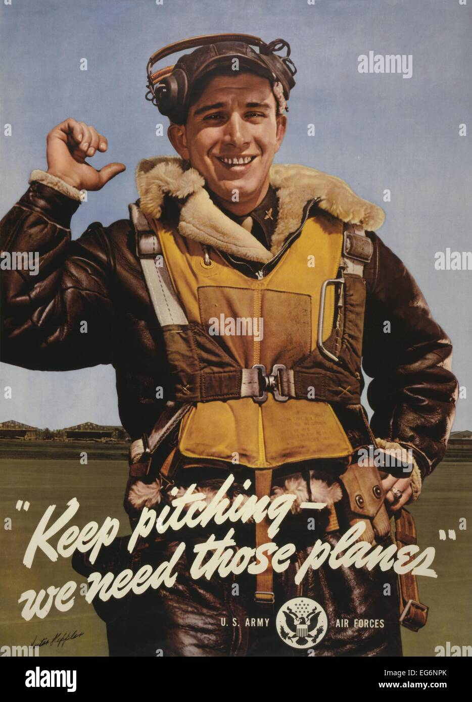 'Keep pitching - we need those planes.' World War 2 Poster shows American aviator standing on airfield. - Stock Image