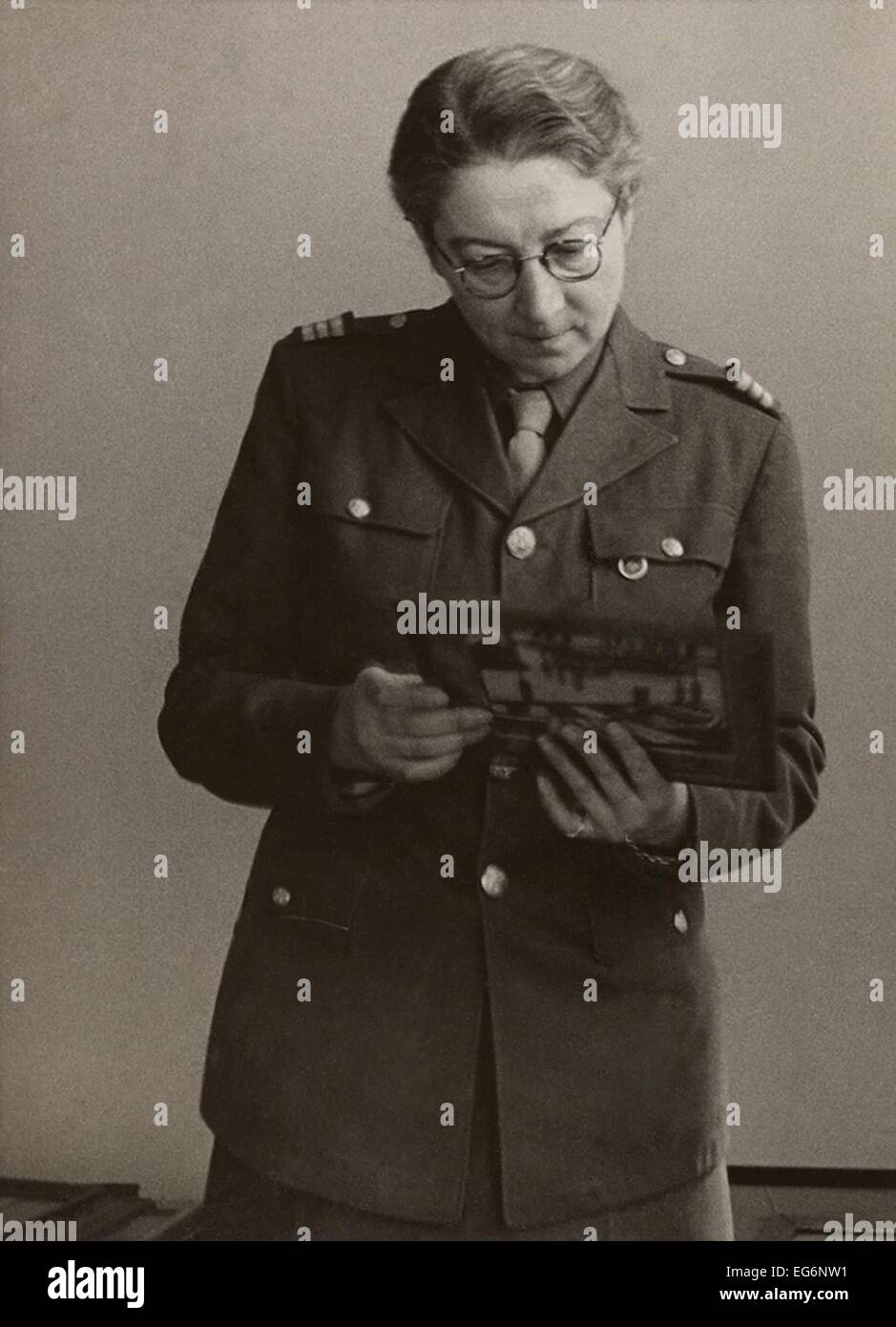 Rose Valland, a French Art Historian, secretly recorded details of the Nazi art plundering. During World War 2, Stock Photo