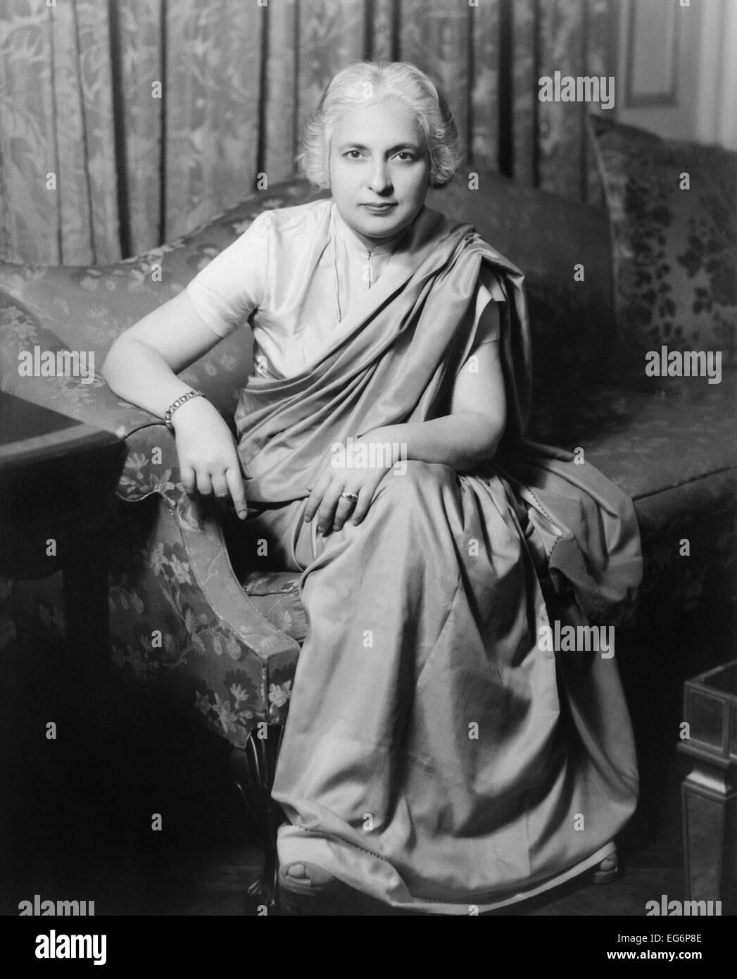 Madame Vijaya Lakshmi Nehru Pandit was the sister of Jawaharlal Nehru and Indian diplomat and politician. Her husband, - Stock Image