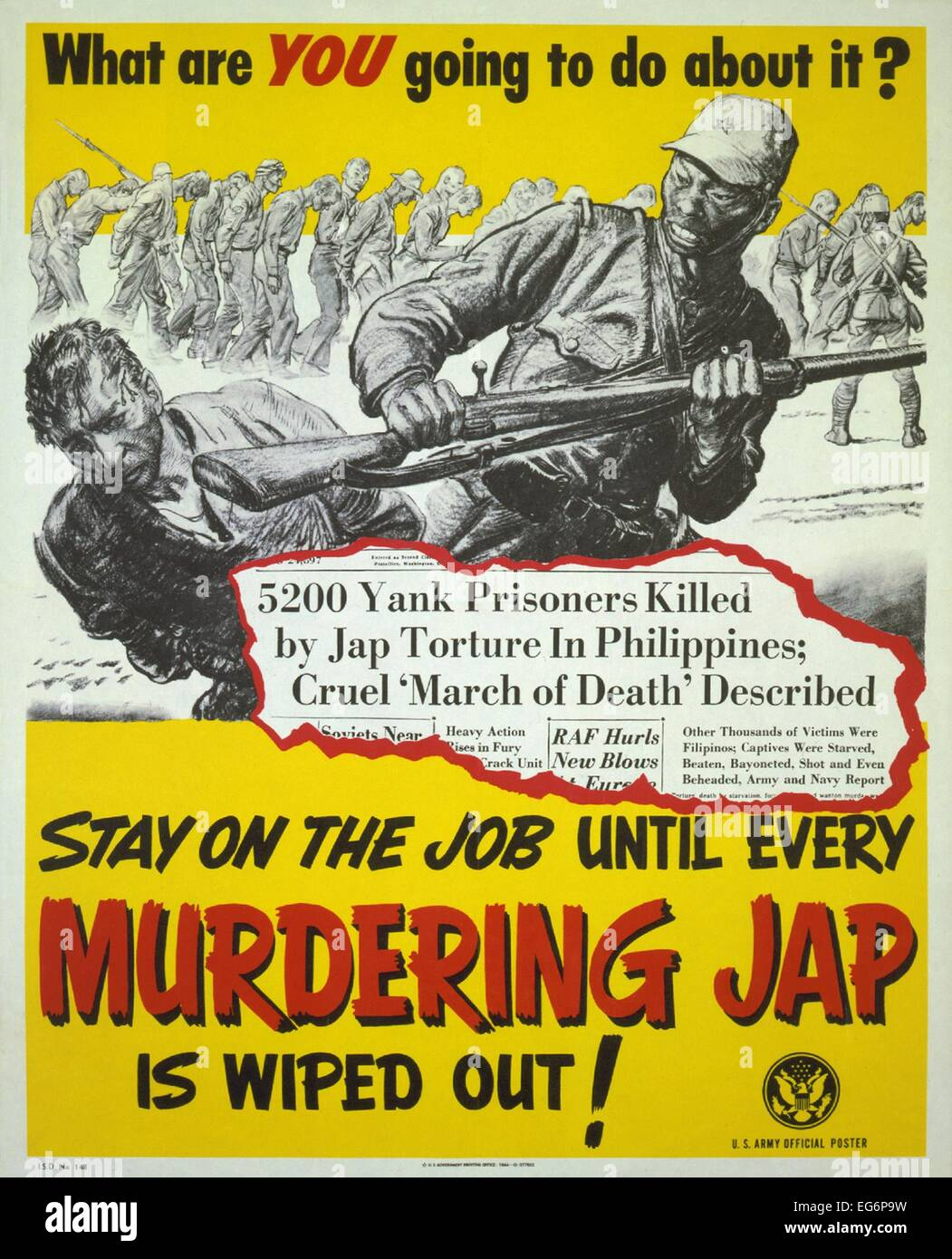 U.S. World War 2 propaganda poster responding to Japanese brutality to prisoners of War. With headlines and images Stock Photo