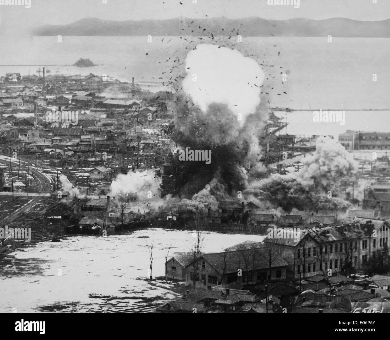 Aerial bombing destroys North Korean supplies during the blockade of Wonsan. Operation Fireball was the code name - Stock Image