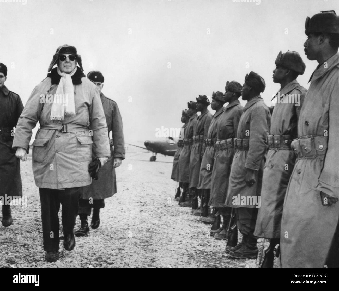 General Douglas MacArthur on an inspection tour of the South Korean Forces. Feb. 21, 1951. Korean War, 1950-53. Stock Photo