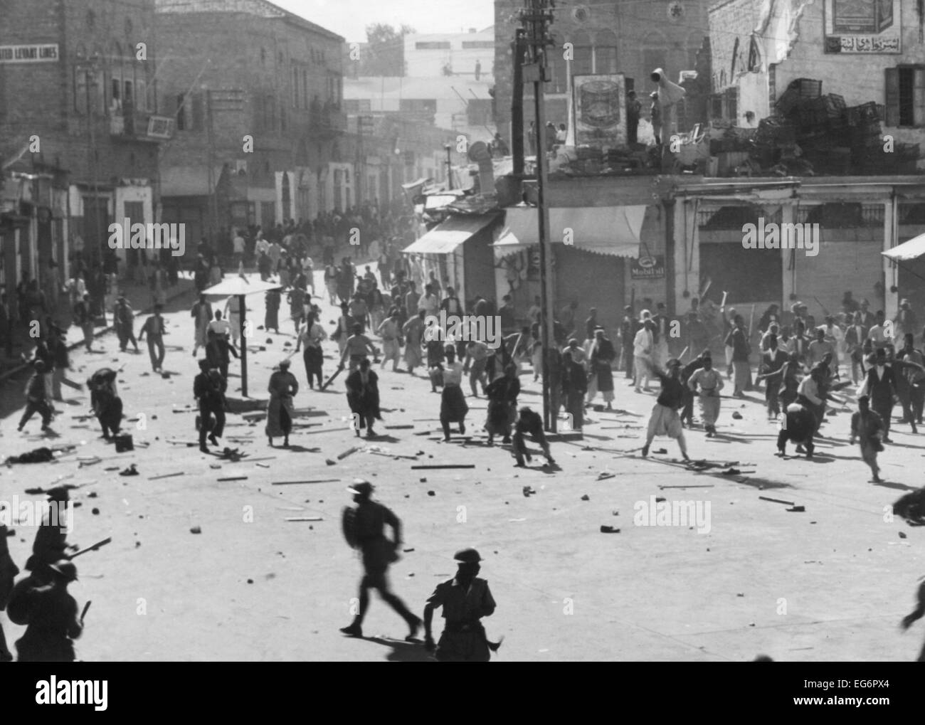 Riot at Jerusalem's Jaffa Gate, October 1933. Palestinian Arabs resisted British colonial rule and mass Jewish - Stock Image