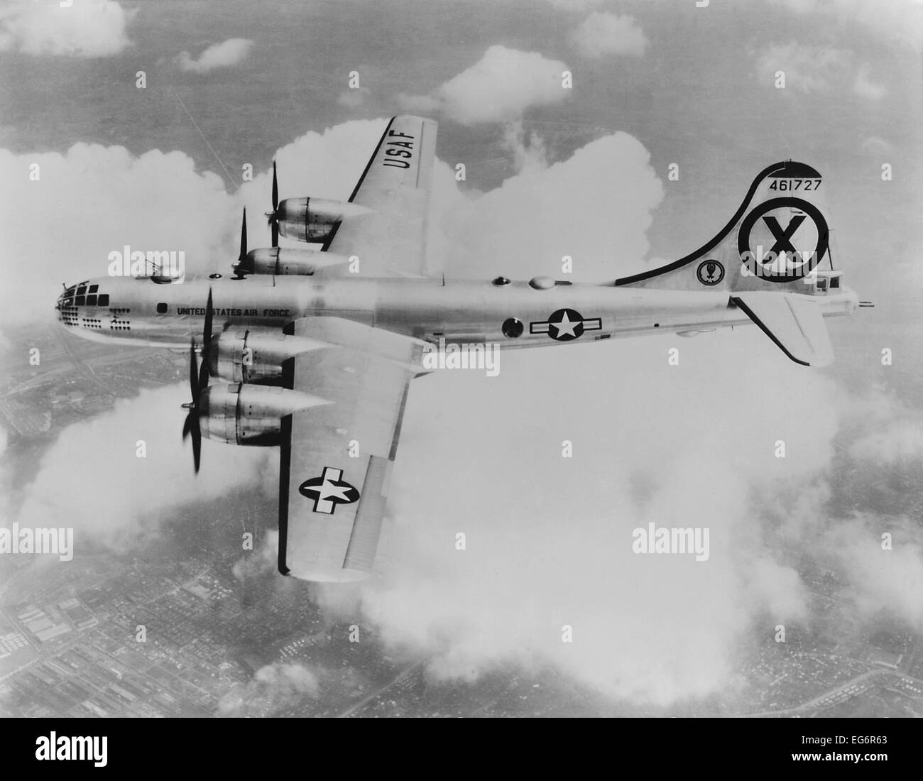 RB-29 of the 31st Reconnaissance Squadron, somewhere over Korea. The reconnaissance version of the Superfortress - Stock Image