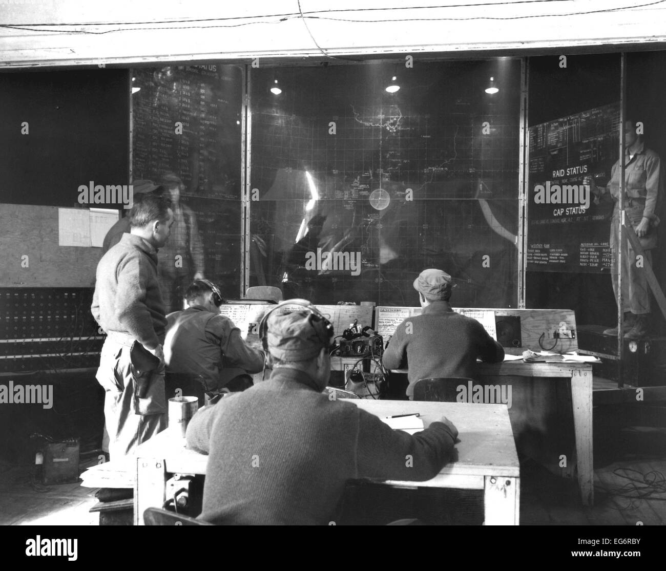 Tactical air control center operated by Marines at Hamhung, to support break-out of troops from Chosin Reservoir. - Stock Image