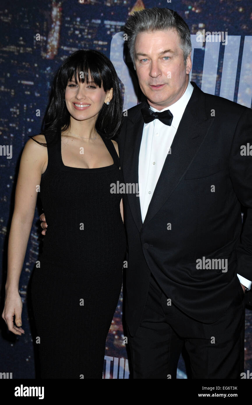 Alec Baldwin and wife Hilaria Baldwin attending the SNL 40th Anniversary Celebration at Rockefeller Plaza on February Stock Photo