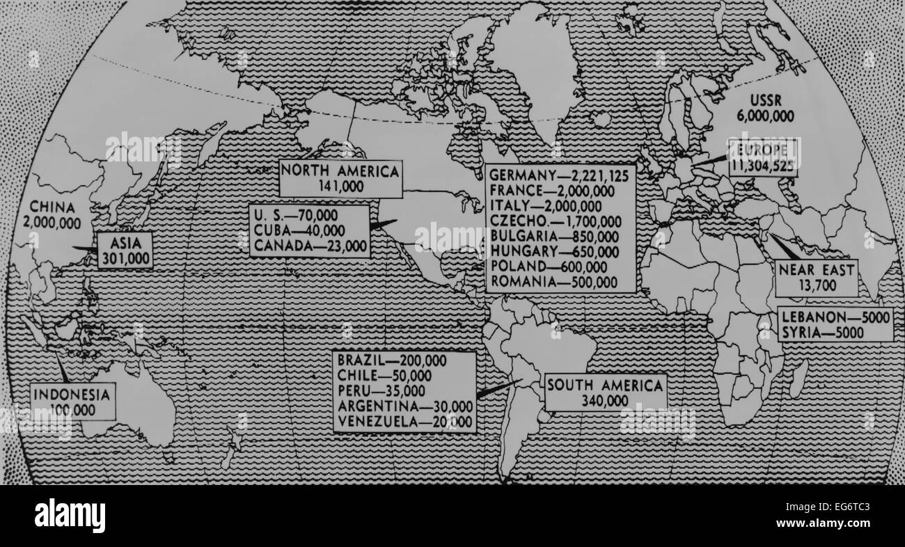 Map europe continent showing countries stock photos map europe 1947 world map showing population of communist party members by continent and selected countries gumiabroncs Images