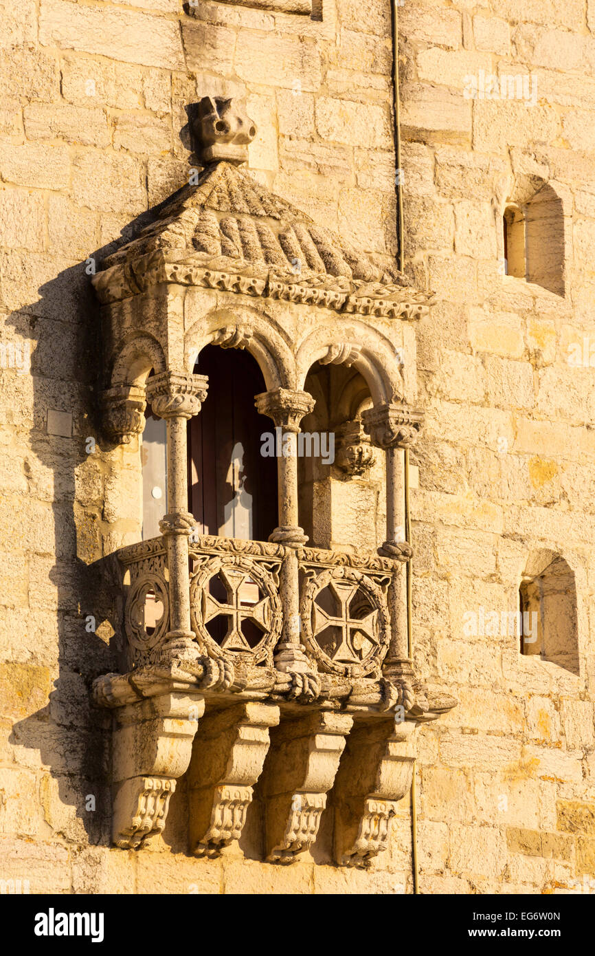 Lisbon, Portugal.  Detail of the 16th century Torre de Belem.  The tower is an important example of Manueline architecture. - Stock Image