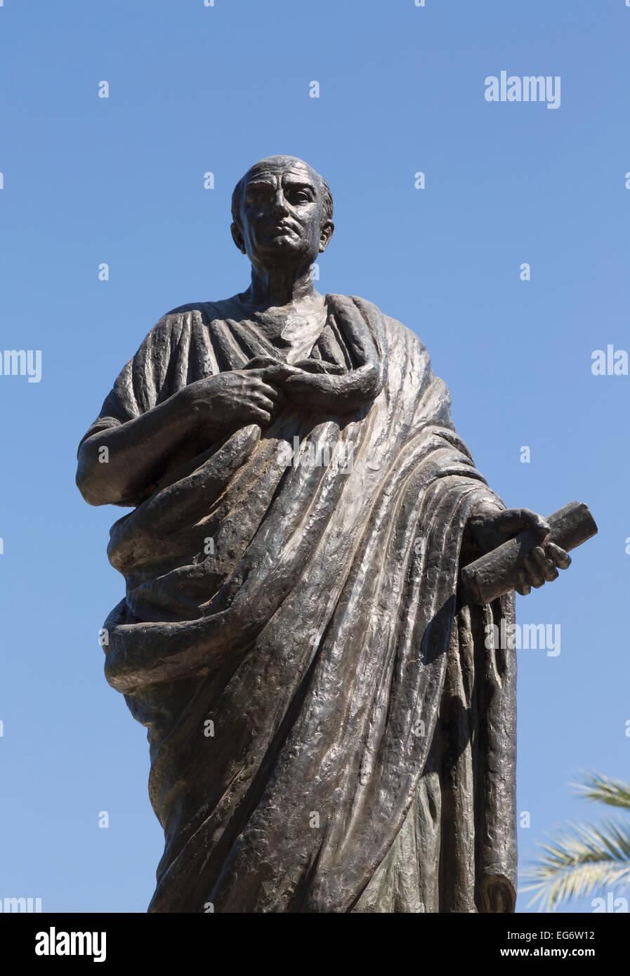 Monument to Lucius Annaeus Seneca, or Seneca the Younger, c. 4 BC – AD 65.  Roman Stoic philosopher, statesman,dramatist. - Stock Image