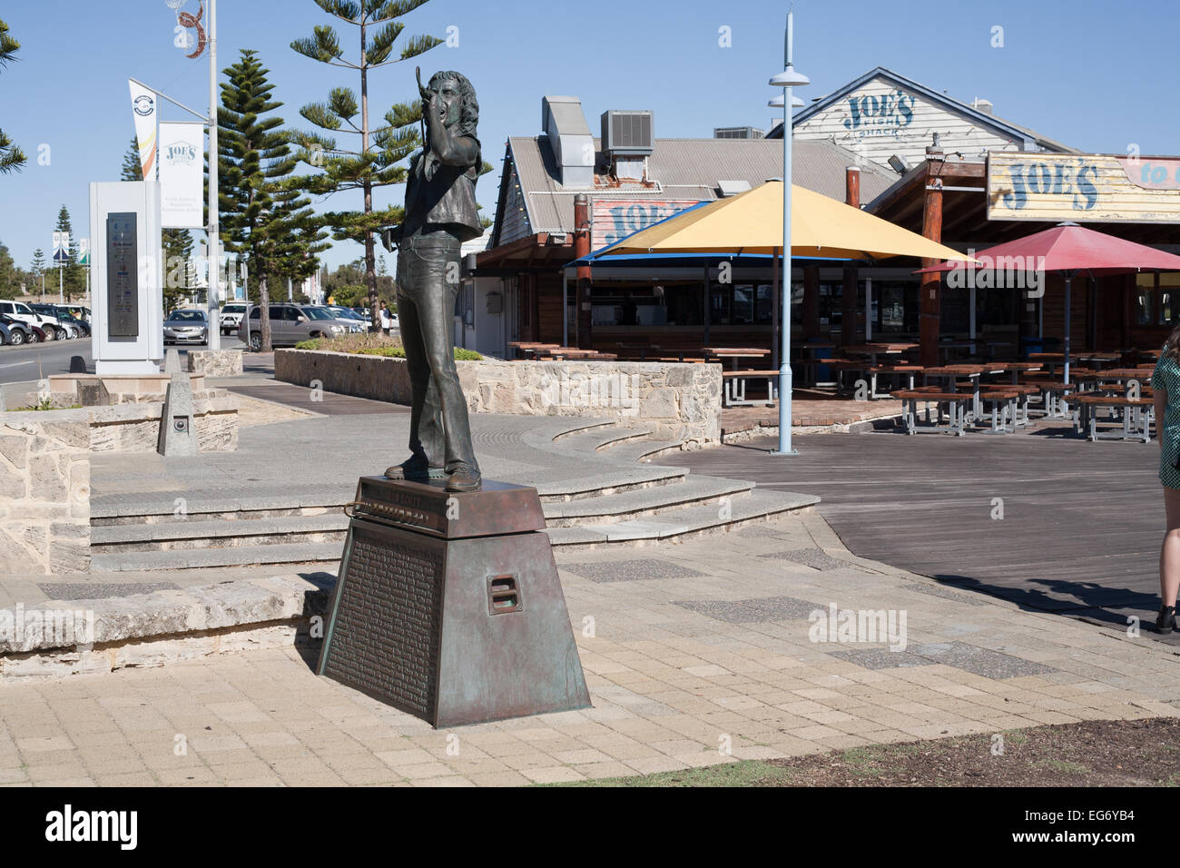 Statue of Bon Scott in Fremantle, Perth. Western Australia. Original lead singer for Australian rock n' roll - Stock Image