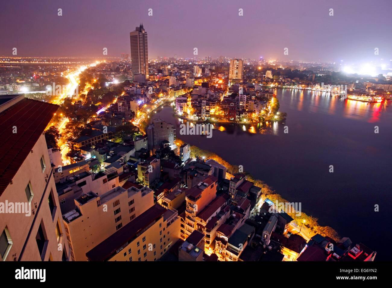 Hanoi skyline at Tru Bach Lake, Vietnam. - Stock Image