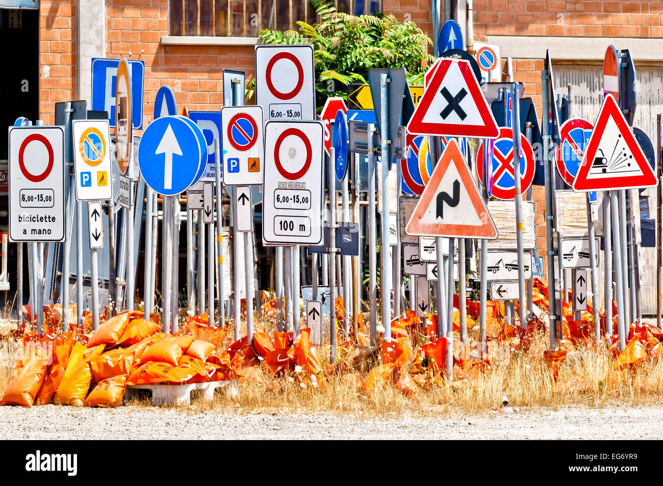 storage area of italian road signs - Stock Image