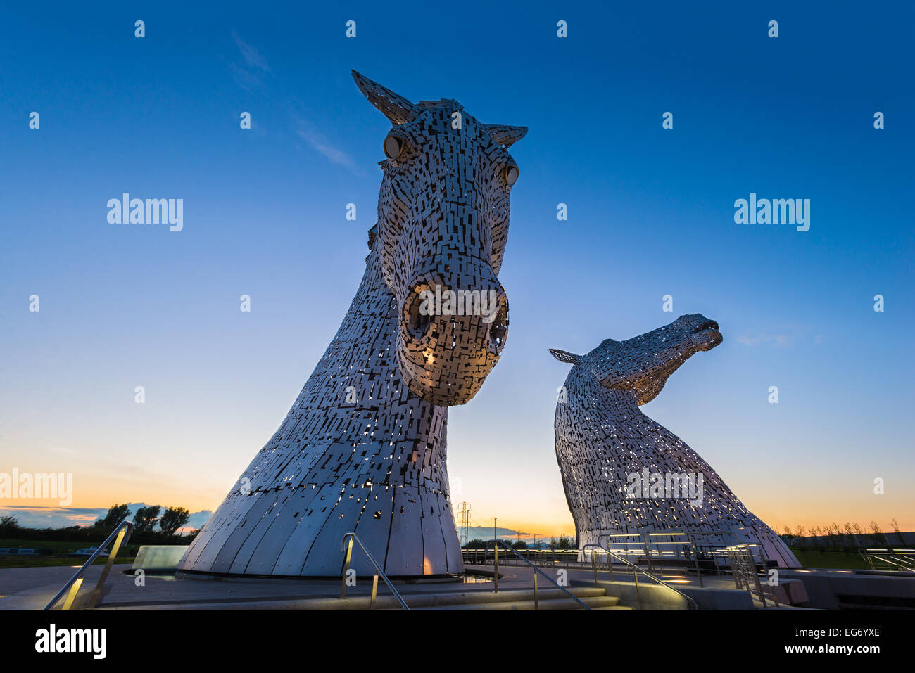 The Kelpies Equine Sculpture by the Forth & Clyde Canal, Falkirk, Scotland, UK. - Stock Image