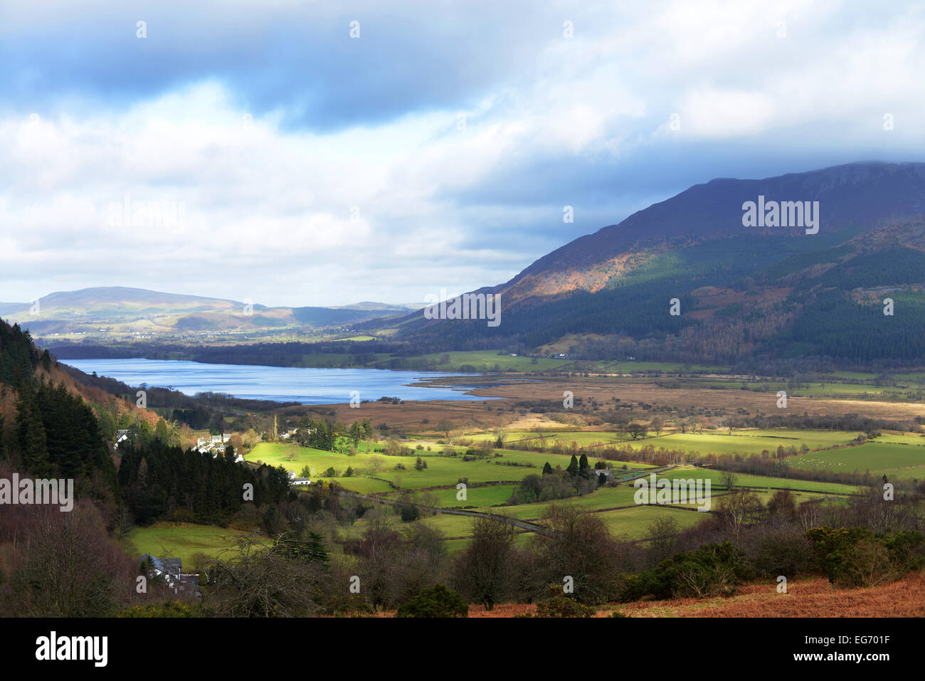 View from Whinlatter Pass towards Lake Bassenthwaite overlooked by Skiddaw in The Lake District, UK - Stock Image