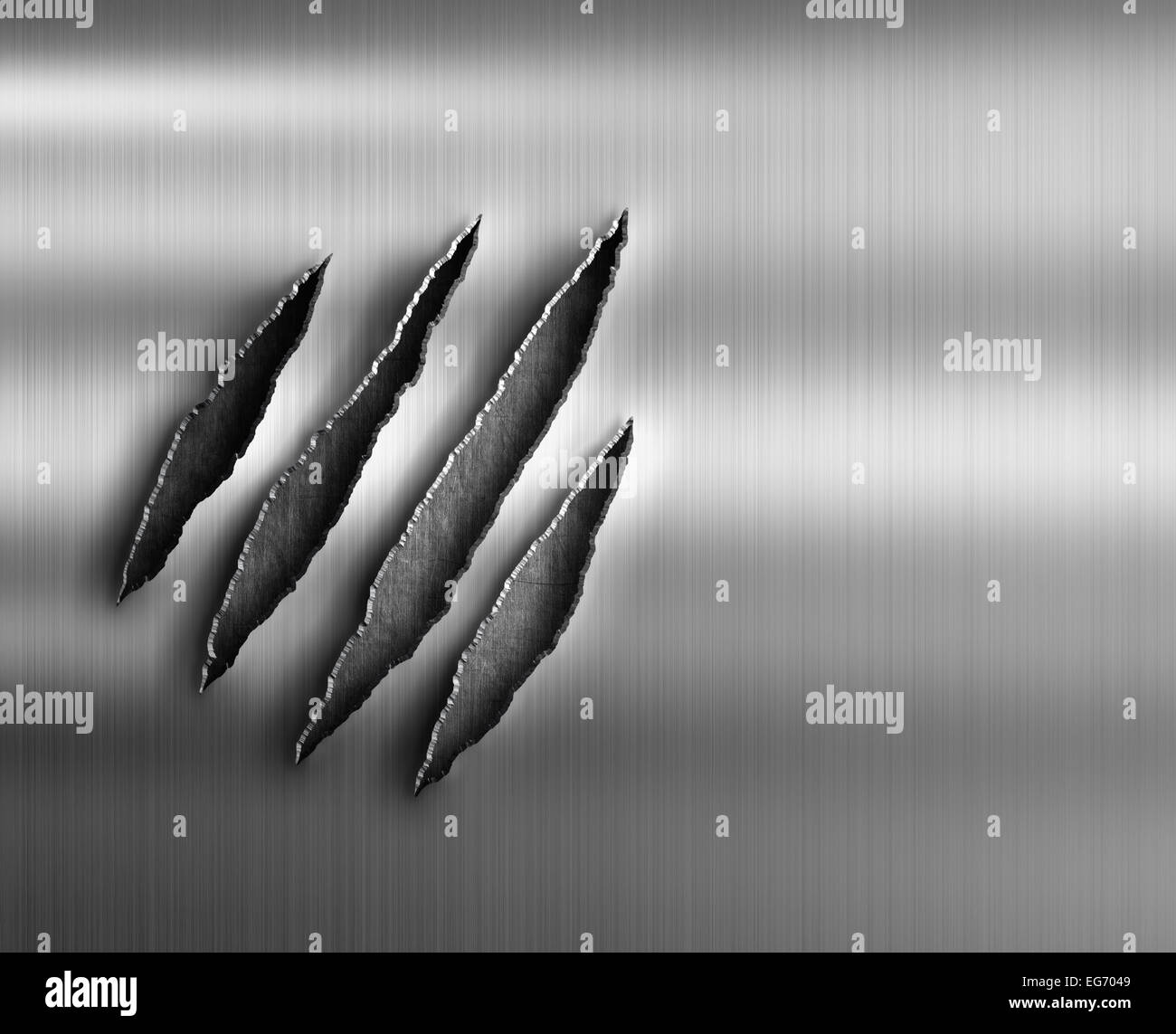 claw damage on metal background - Stock Image