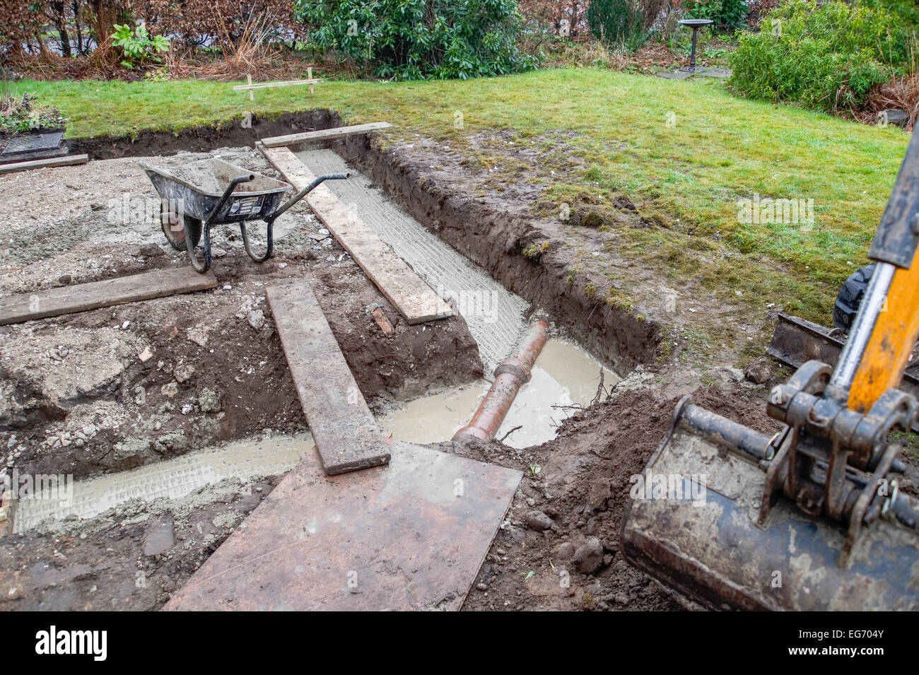 A dug trench for footings foundations for a domestic extension home improvement renovation. Horizontal format with - Stock Image