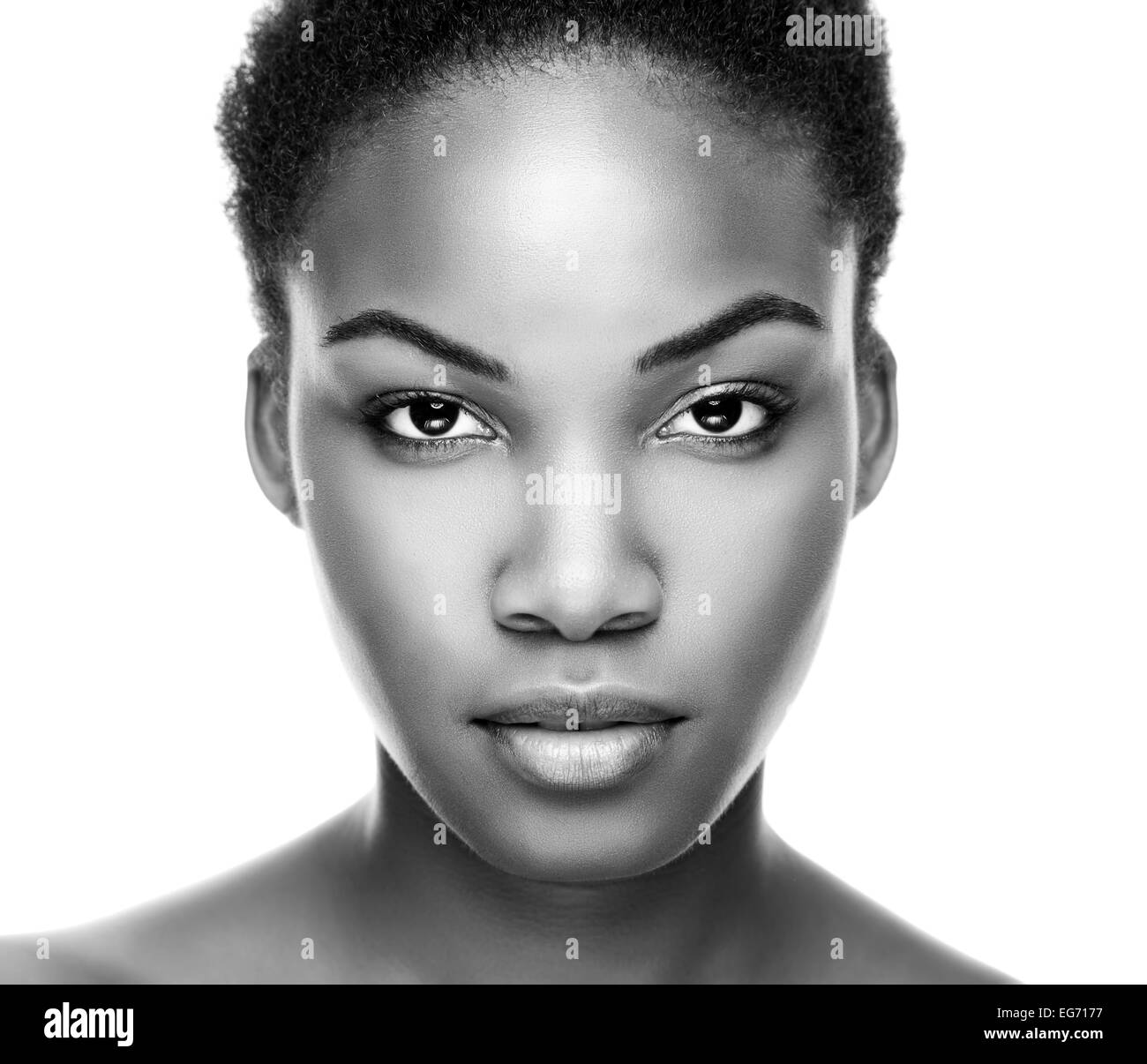 Face of an young black beauty in black and white - Stock Image