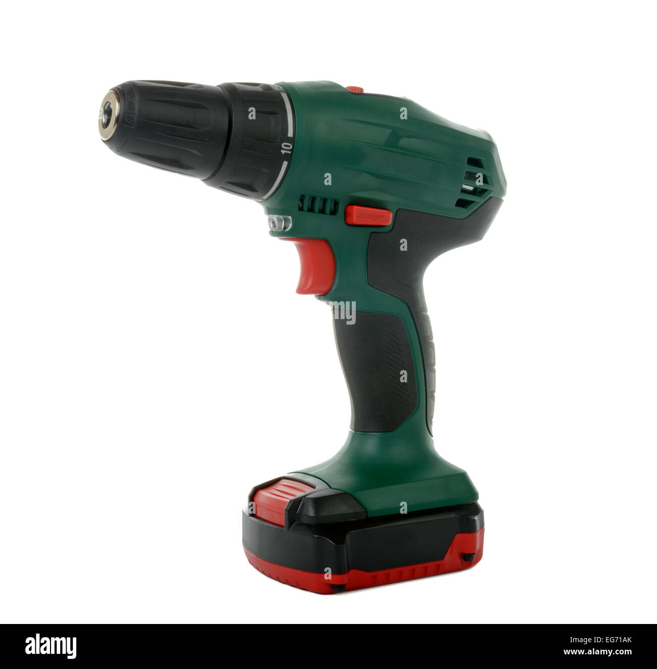 green cordless drill on the white background - Stock Image