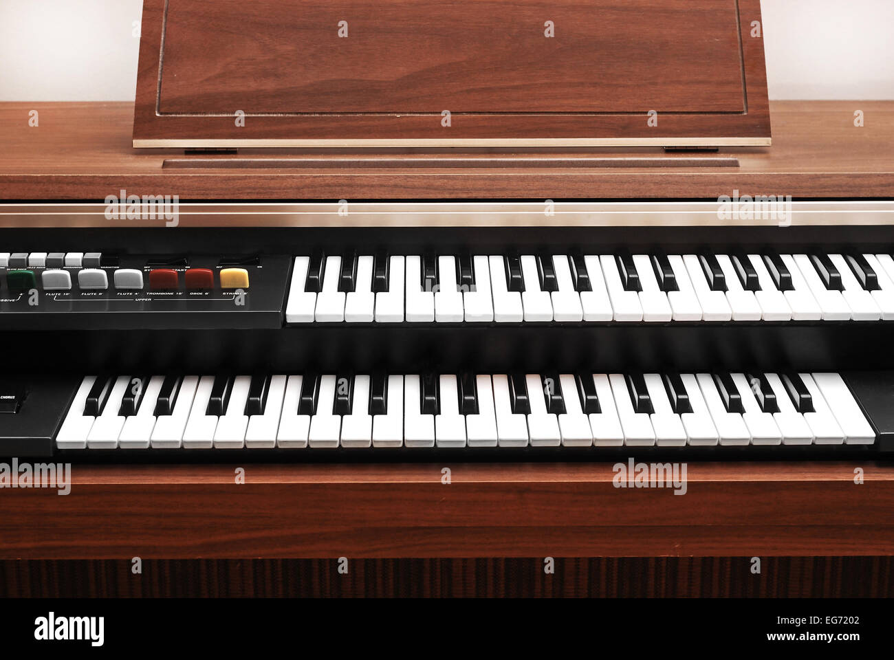 electric double keyboard wooden piano - Stock Image
