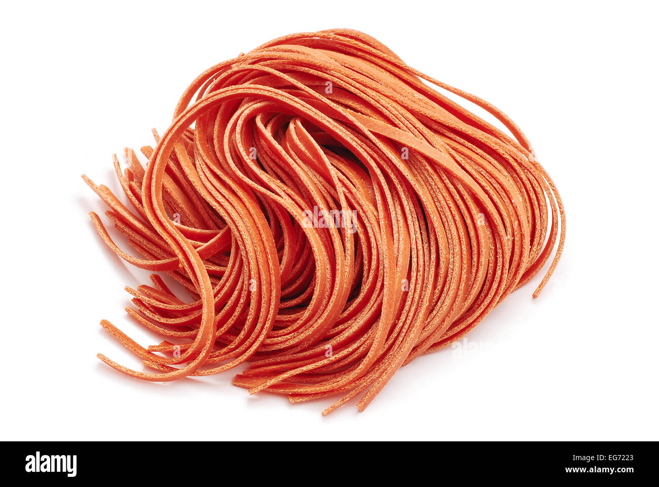 red fettuccine pasta on white Stock Photo