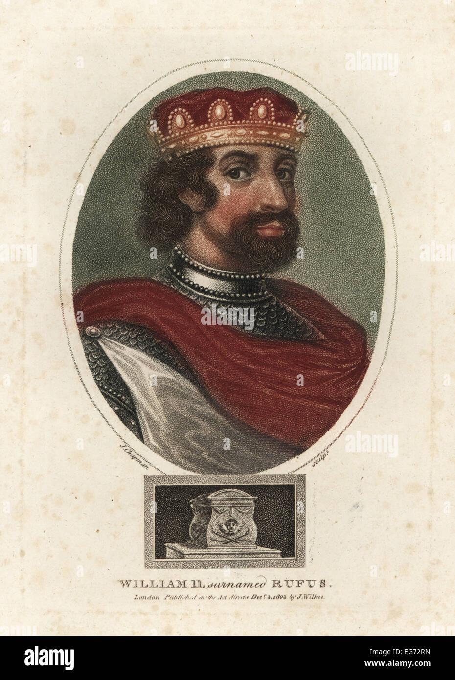 Portrait of William II or William Rufus, (c1056-1100), King of England. - Stock Image