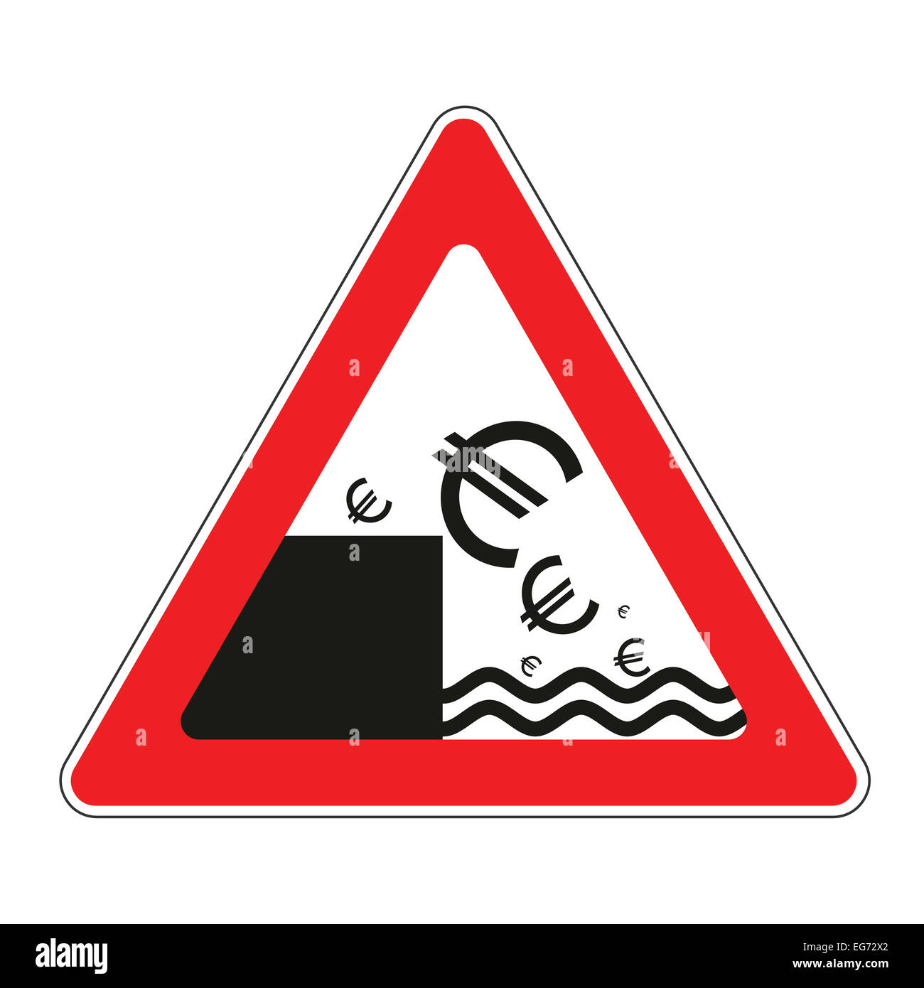Illustration of road sign with Euro currency decline concept - Stock Image