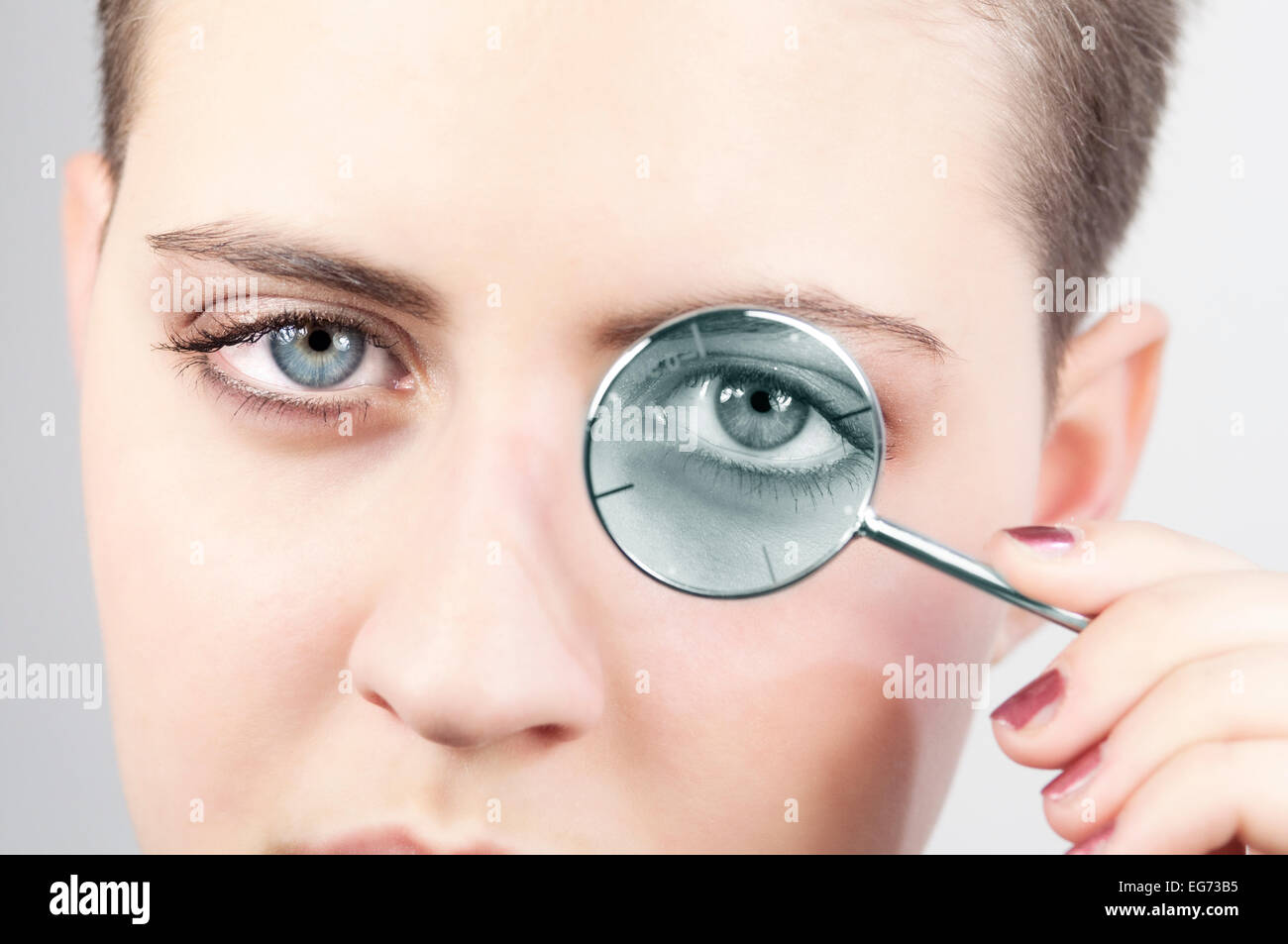 Girl with Optometrist Diopter Glasses - Stock Image