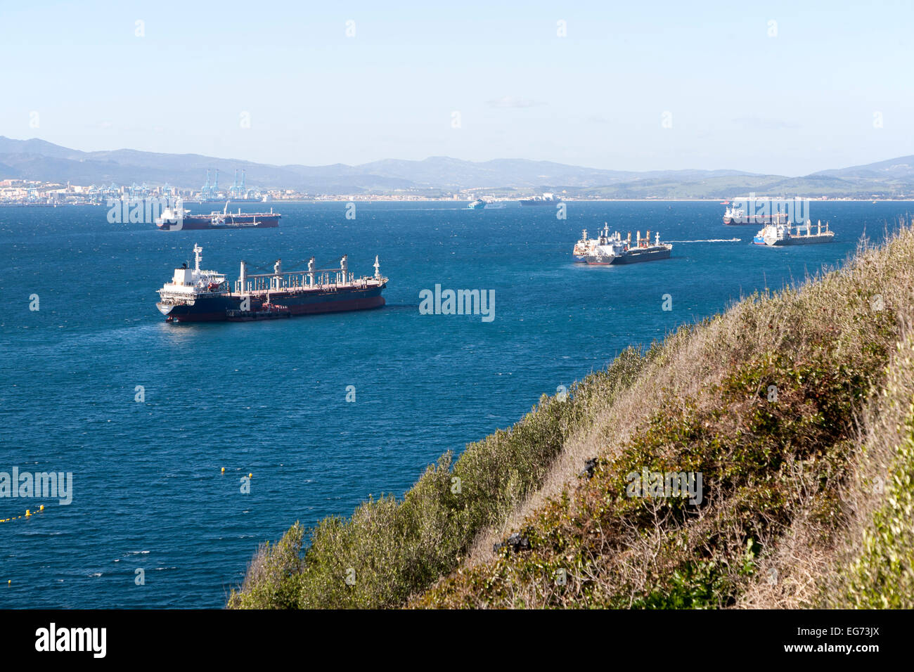 Oil cargo  ships anchored in the bay between Algericas, Spain and Gibraltar, British terroritory in southern Europe - Stock Image