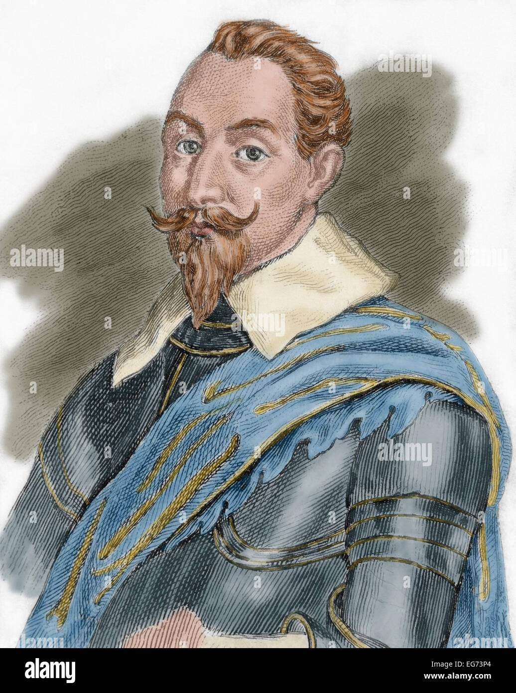 Gustav II Adolf (1594-1632). King of Sweden from 1611 to 1632. Portrait. Engraving. Colored. Stock Photo