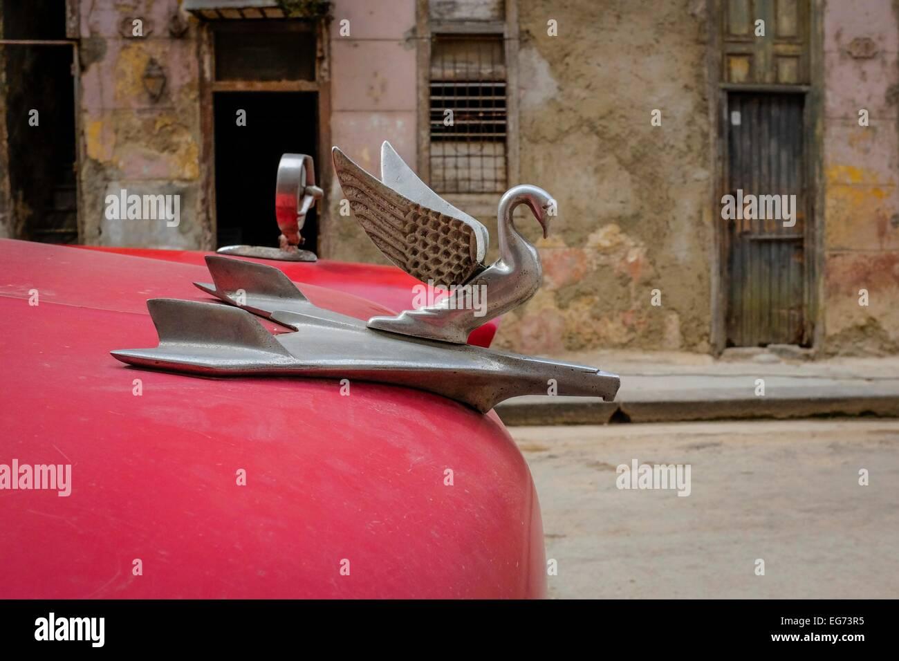 Red Cuban classic car details, Havana, Cuba - Stock Image
